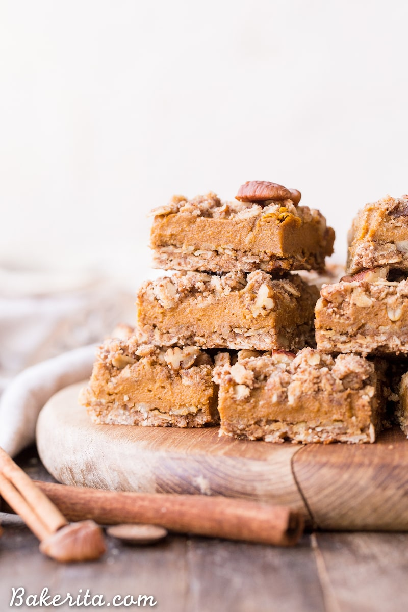 9 Drool-worthy Gluten Free, Dairy Free Pumpkin Pie Recipes - Pumpkin Pie Crumb Bars from Bakerita