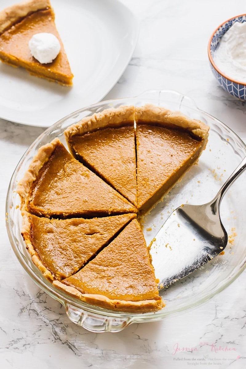 9 Drool-worthy Gluten Free, Dairy Free Pumpkin Pie Recipes - Gluten Free Vegan Pumpkin Pie from Jessica In The Kitchen - Dairy Free Impossible Pumpkin Pie from Kitchen Treaty