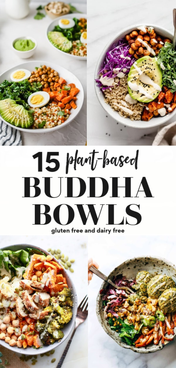 Looking for a buddha bowl recipe? Here are 15 to choose from that are so delicious, gluten free, dairy free, and vegan, vegetarian or made with chicken. These bowls are so easy to meal prep, include ingredients like tofu and sweet potato and all have delicious sauce or dressing ideas. Clean eating friendly and fun for the whole family!