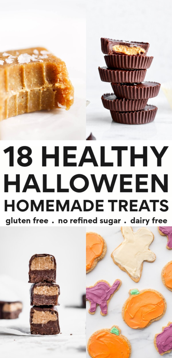 Check out these 18 healthy halloween treats that are easy to make, gluten free, dairy free, awesome, and fun! Perfect options for kids, for work, to hand out, and even for toddlers or party ideas. There's everything from homemade candy bars to caramel apples to popcorn, and DIY snickers! No refined sugars and so much healthier than traditional halloween candy!