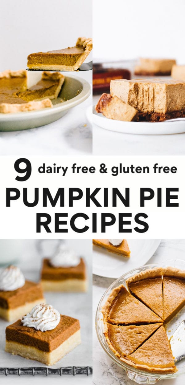 Easy pumpkin pie is in! These healthy, dairy free pumpkin pie recipes are made with gluten free or grain free crusts (or kept crustless), classic in a pie pan or made into bars, and contain no sugar that's refined. These are truly the best recipes around for healthy pumpkin pie and great for everyone from vegan to paleo to clean eating! Thanksgiving is coming up, be the best guest with one of these recipes!