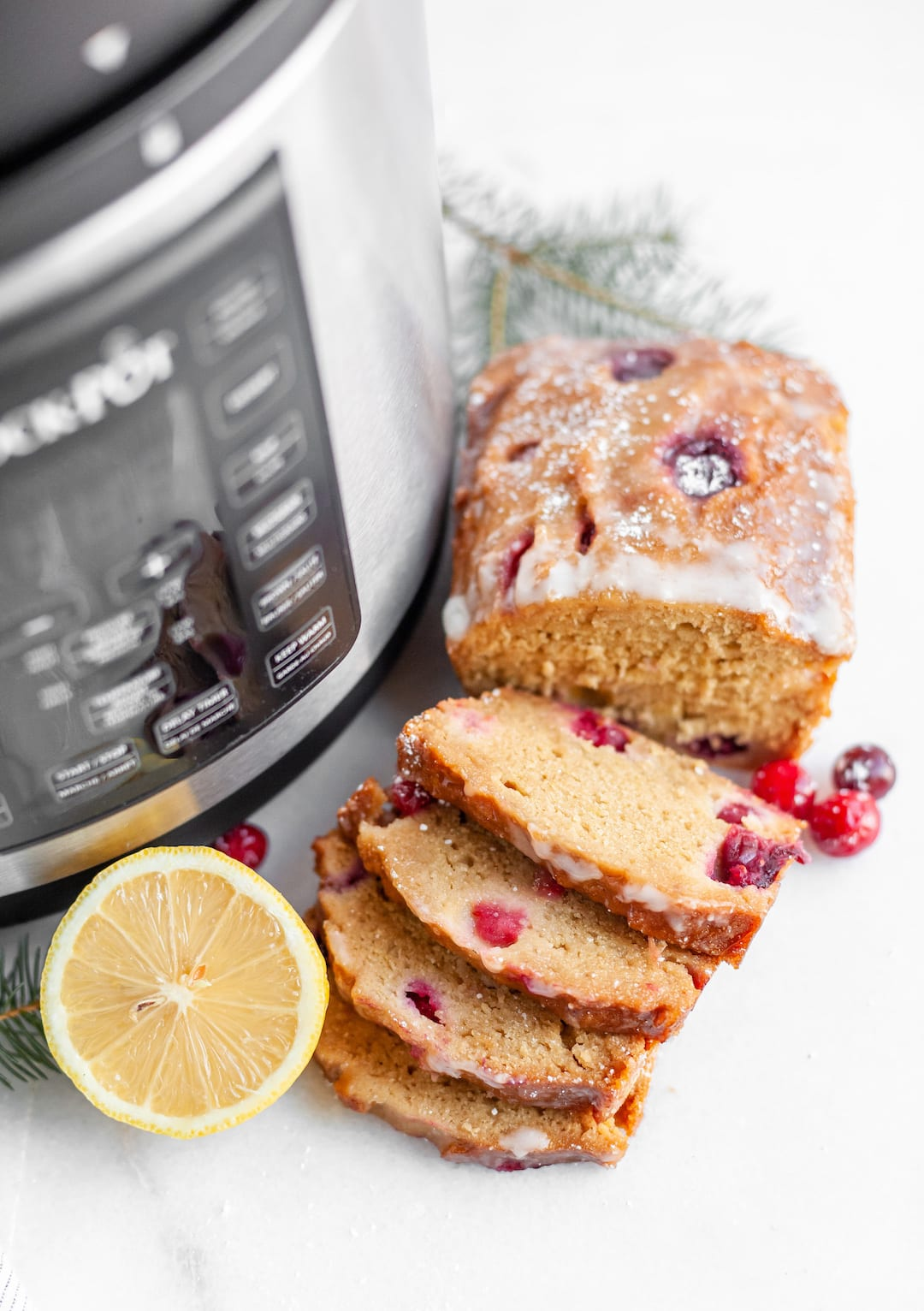 Healthy Cranberry Lemon Loaf Pound Cake with the CrockPot Pressure Cooker