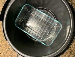 Loaf pan inside a pressure cooker to make loafs