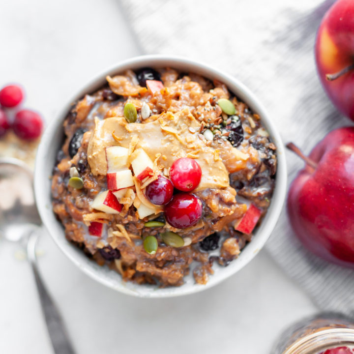 Overnight Crockpot Oatmeal with Apples & Cranberry