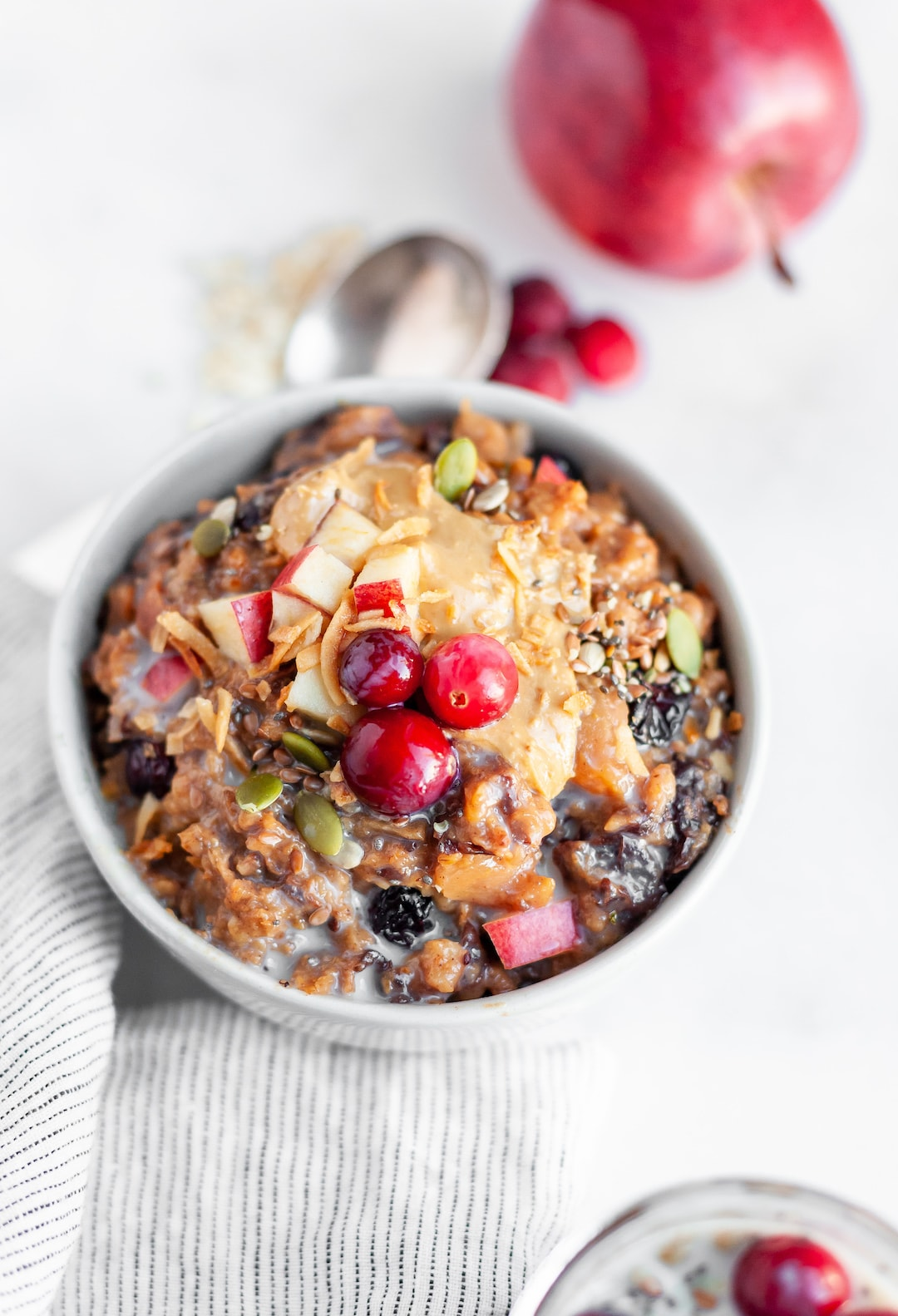 Easy Overnight Crockpot Oatmeal with Apples & Cranberry