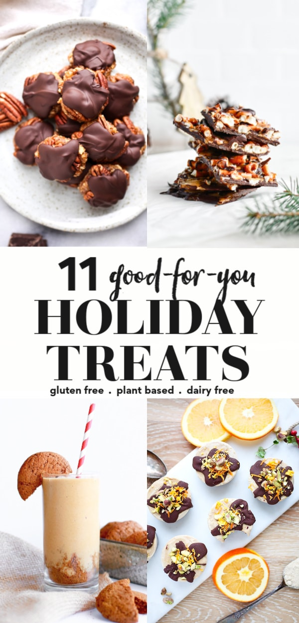 Try these 11 healthy holiday treats that are sure to please during the Christmas (and New Years!) season! They are healthy recipes that are good for kids and adults alike, great for snacks, desserts, and those who are following a clean eating diet. Gluten free, dairy free, plant based, vegan, paleo, and no sugar options!