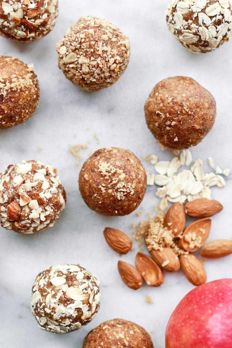 18 Easy Plant-Based Snacks To Try - Vegan Apple Almond Energy Balls