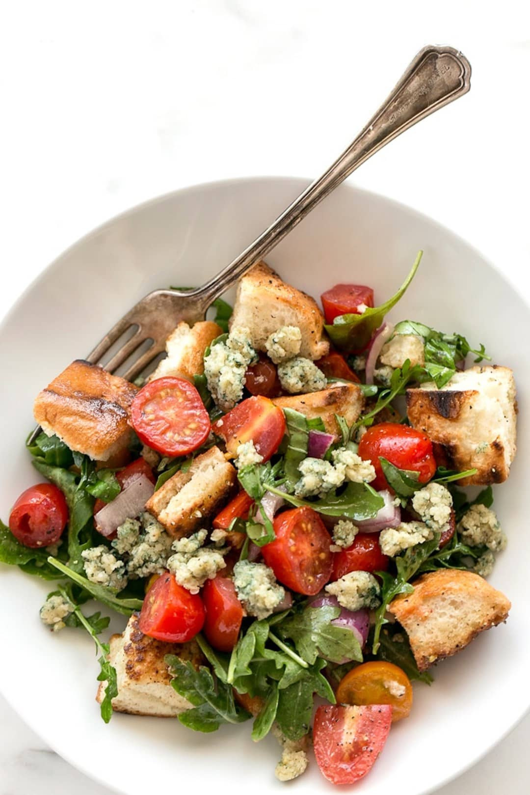 13+ Healthy Recipes with Hemp Hearts - Cherry Tomato Panzanella Salad with Hemp Blue Cheese (Vegan)