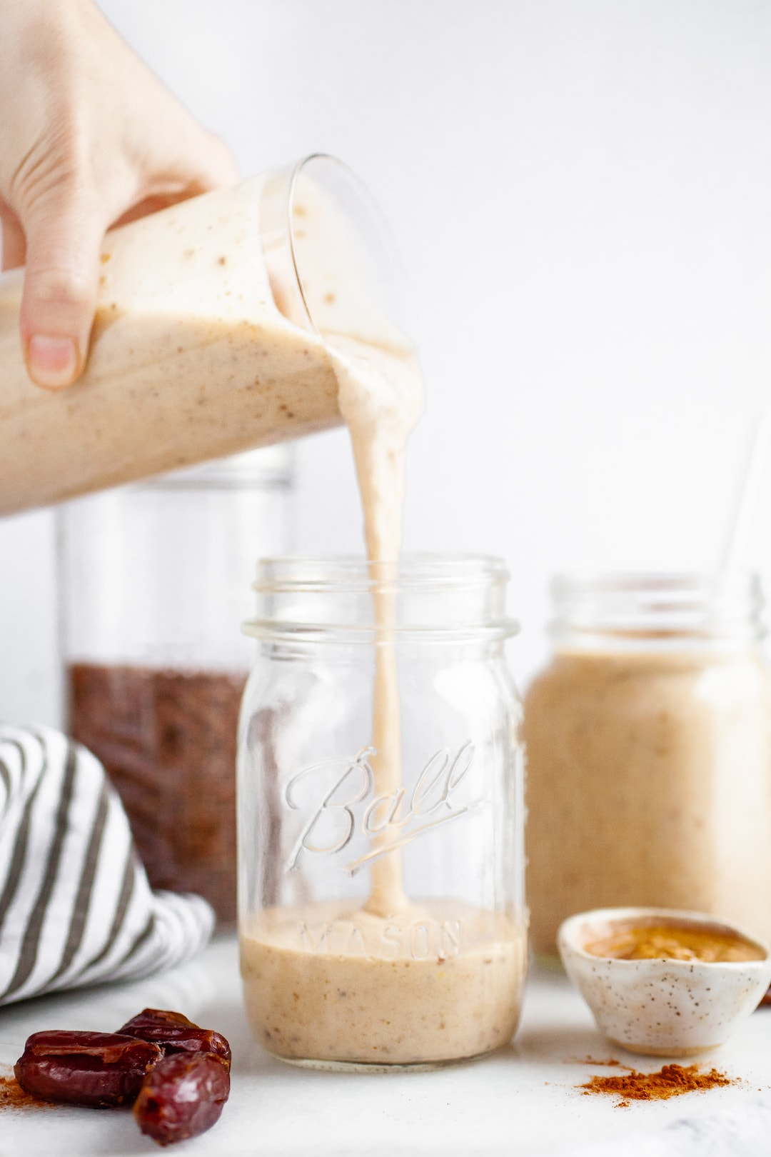 Banana Almond Butter Date Smoothie Recipe with flax and chia seeds