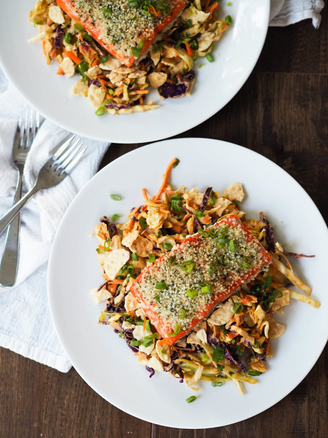 13+ Healthy Recipes with Hemp Hearts - Hemp Crusted Salmon with Peanut Slaw