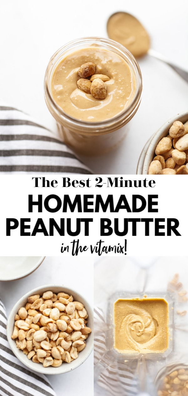 This delicious and super easy sugar free homemade Vitamix peanut butter recipe tastes just 2-minutes to make in the Vitamix or a high speed blender. There are flavor add-in options and information on how to make, how to store, and how to enjoy!