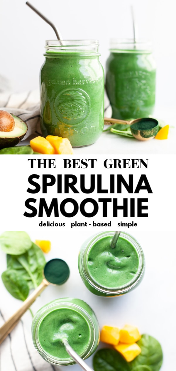 This is truly one of the best green spirulina smoothie recipes you'll try! It's packed with protein, can easily be vegan, is made with banana and mango, makes a great breakfast or snack and is super easy and simple. Whether you are doing a detox or just want healthier mornings, this tropical inspired smoothie is a must-make! Tip: try it as a bowl topped with sliced banana and your favourite granola!