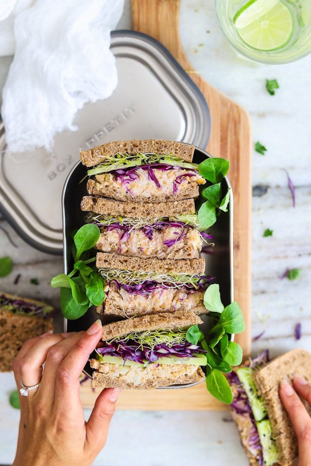 11 Yummy Plant Based Sandwiches - Vegan Chickpea Sandwiches by Two Spoons