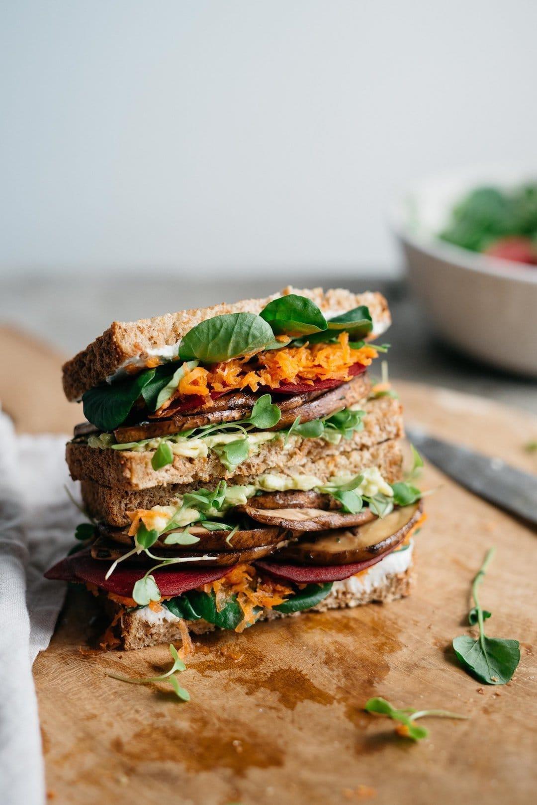 11 Yummy Plant Based Sandwiches - Avocado Club Sandwiches by Dolly & Oatmeal