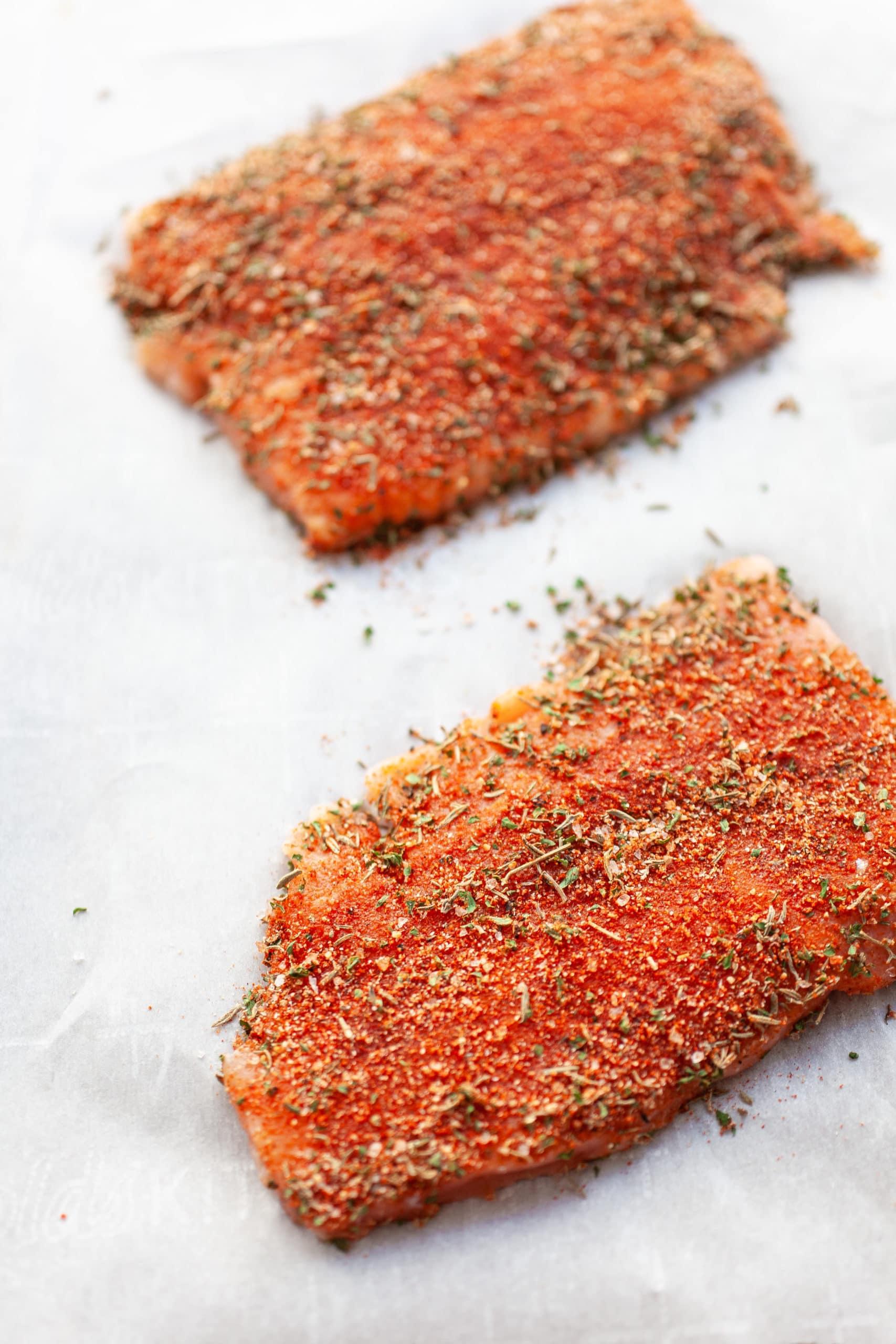 Making Healthy Blackened Salmon Salad