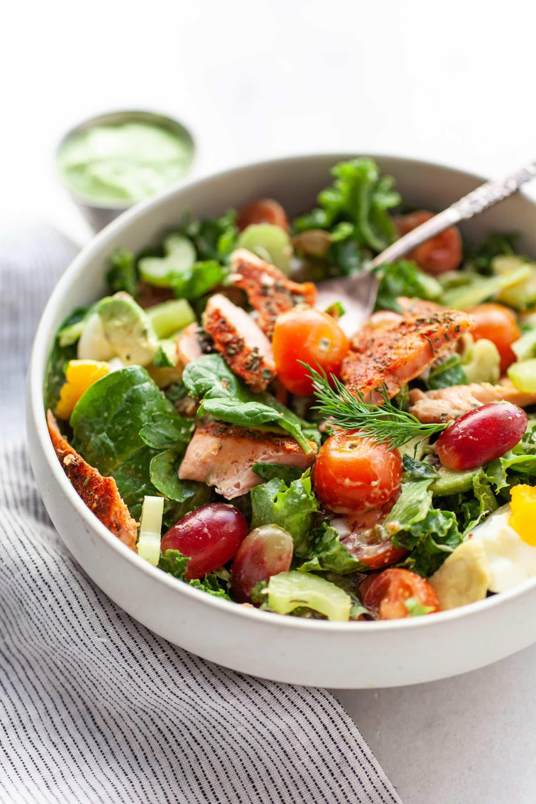 The Best Healthy Blackened Salmon Salad (gluten free)