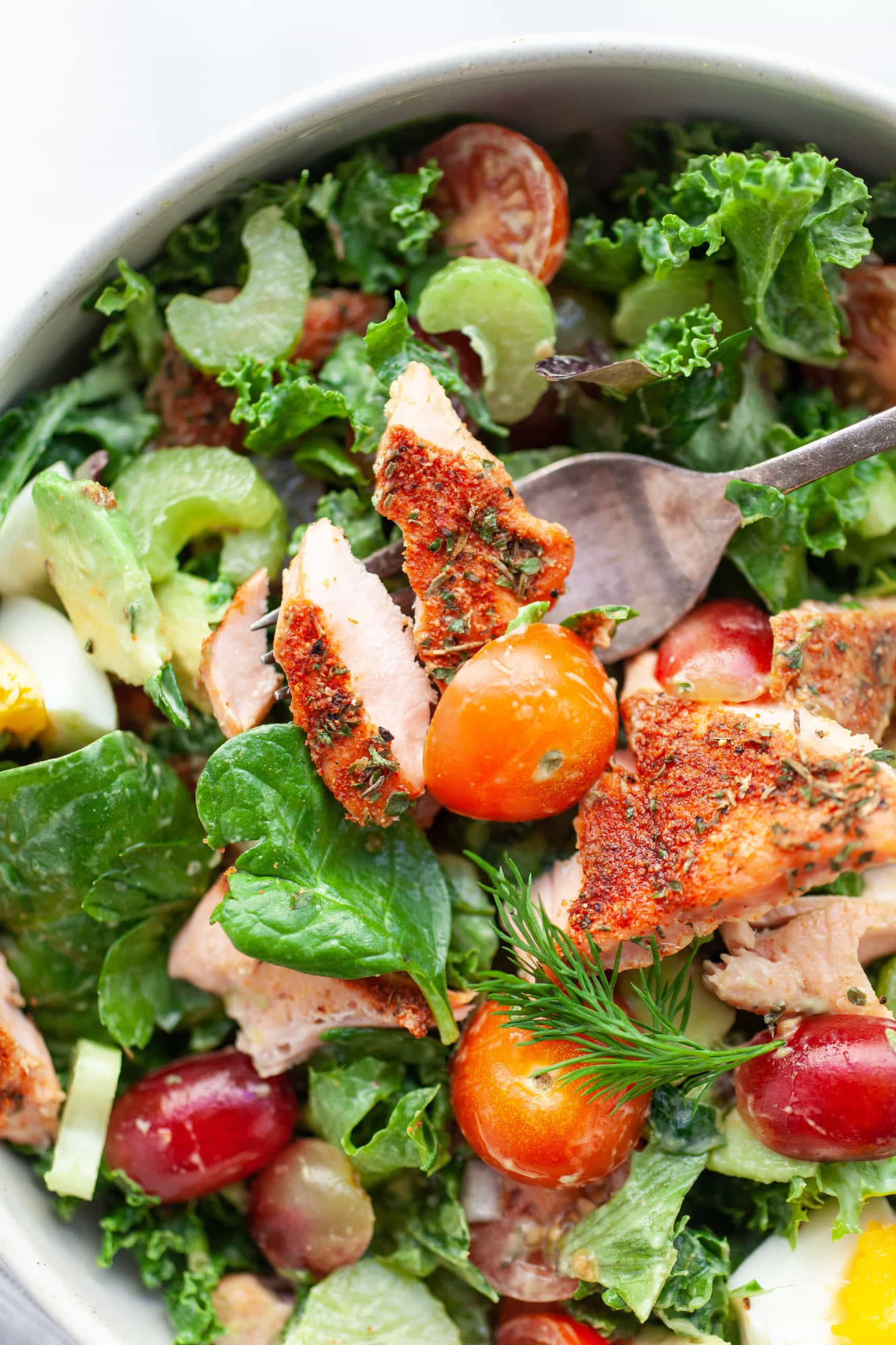 Easy Healthy Blackened Salmon Salad