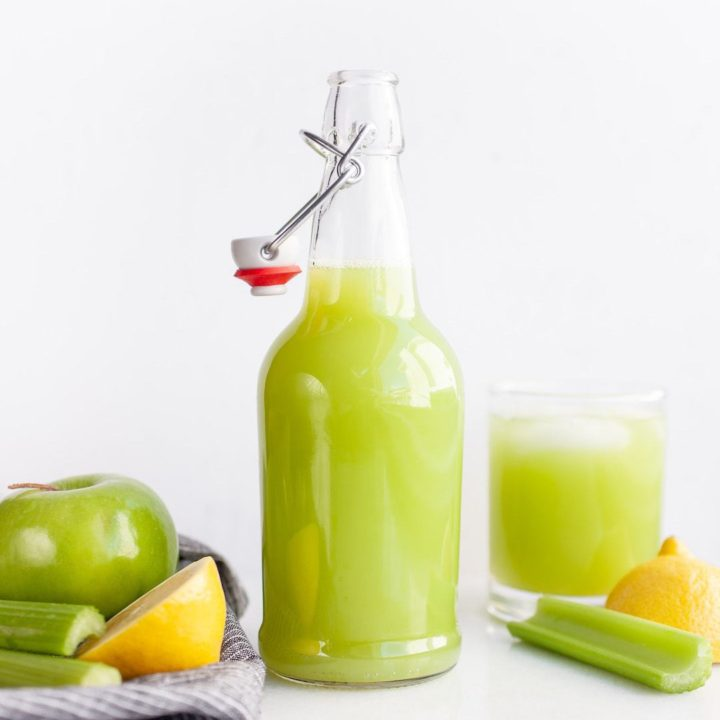 Make this easy, healthy, and simple celery juice recipe in the vitamix or blender (no need for juicers!) to enjoy as the best refreshing beverage, for skin, to detox, for weight loss, or just to get extra nutrients in the mornings, or during the day when you need some hydration!