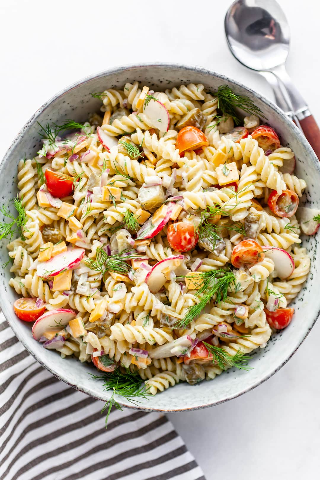 Best Ever Healthy Dill Pickle Pasta Salad