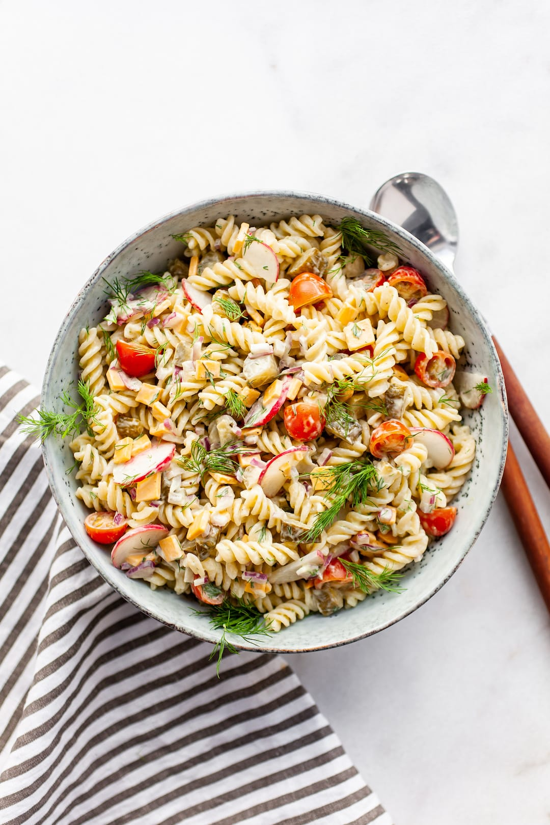 Colourful & Crunchy Healthy Dill Pickle Pasta Salad