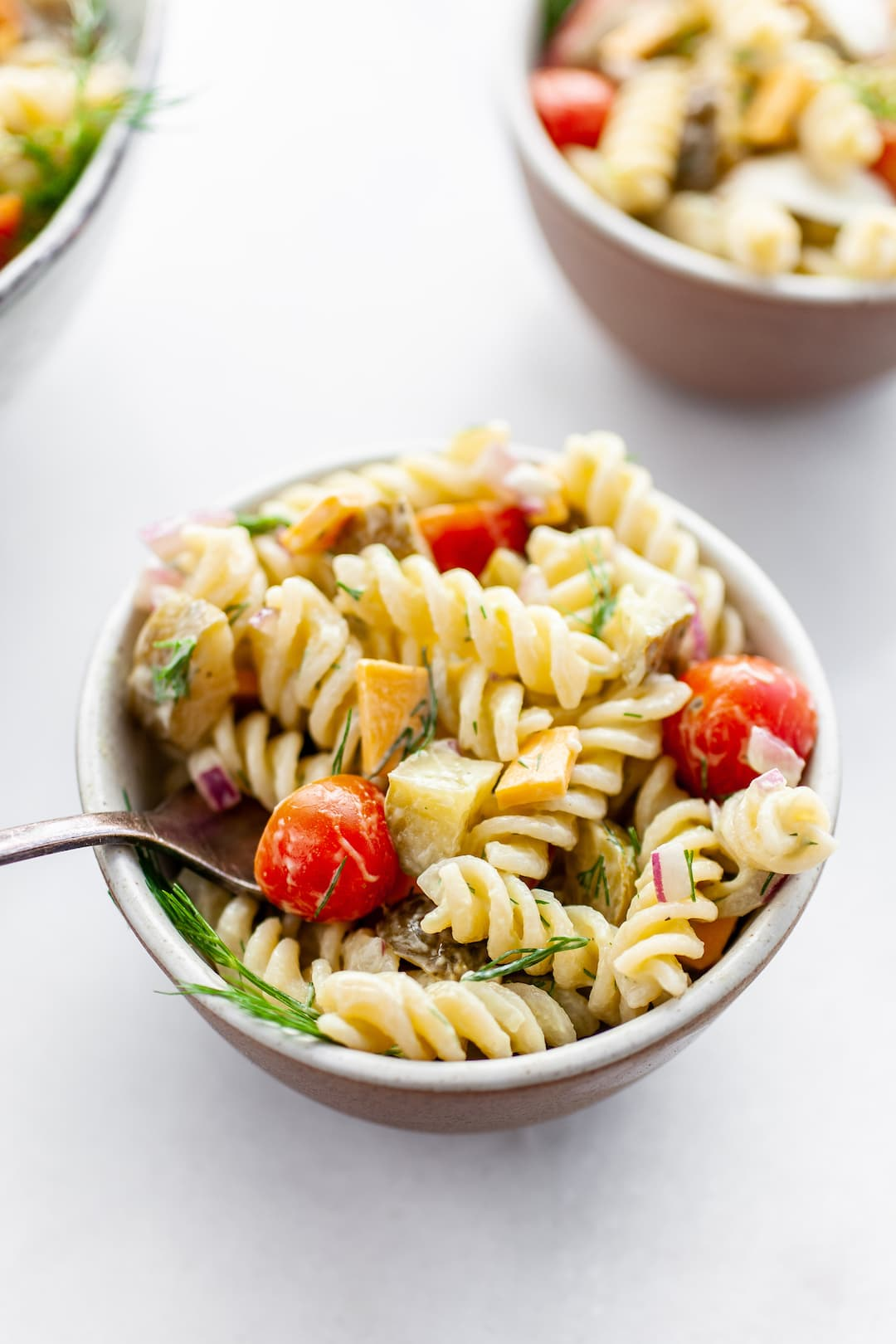 Delicious and Healthy Dill Pickle Pasta Salad