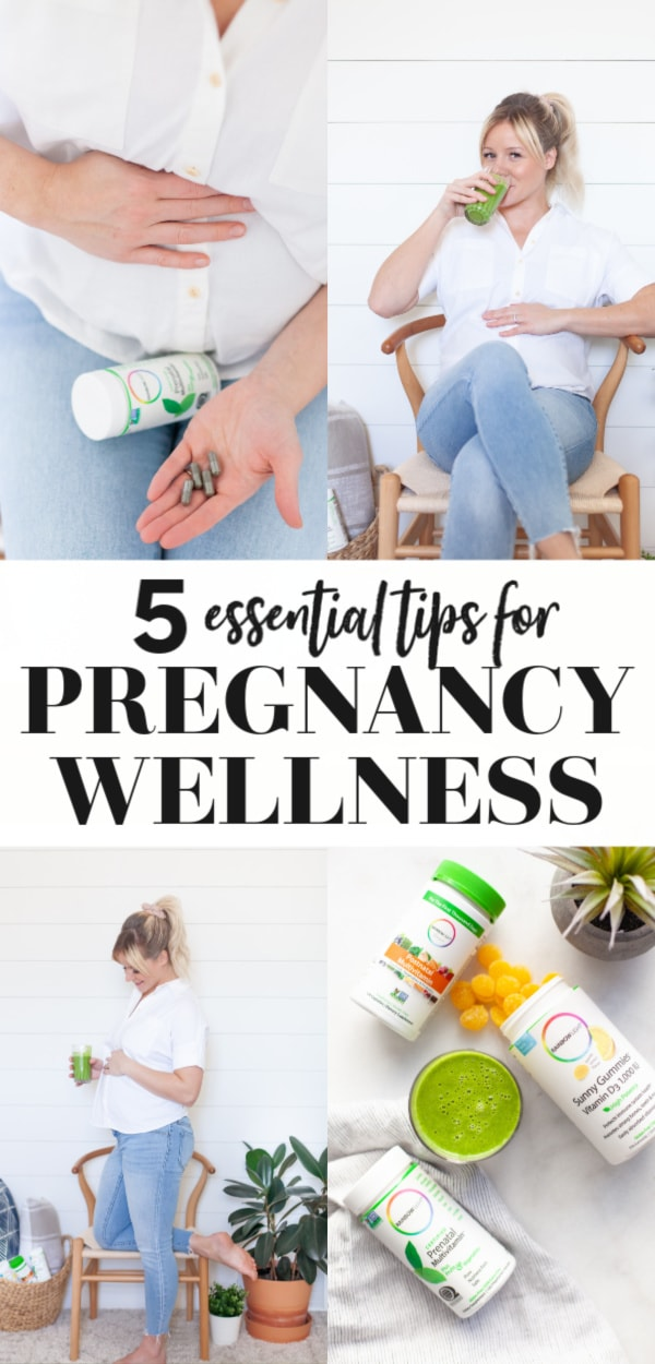 Check out these five essential pregnancy wellness tips including food and fitness, supplements, natural options, things to do, prenatal vitamins, do's and don't and more! Take charge of your wellness from the first trimester to the third and beyond whether it's your first pregnancy, second, or fifth!