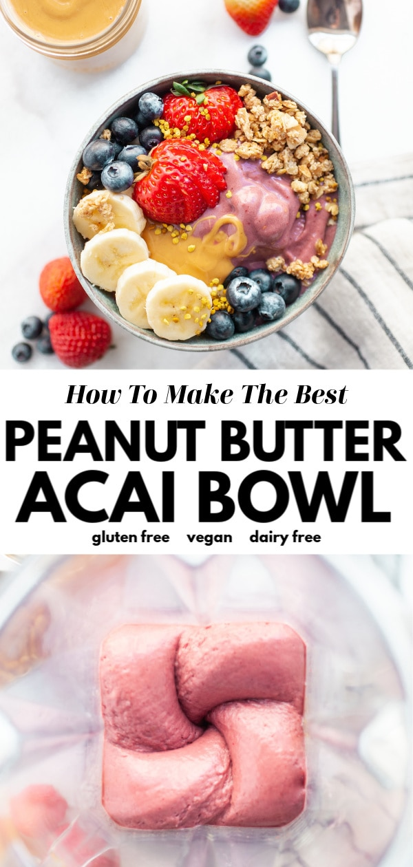 Learn how to make the best peanut butter acai bowl recipe that's healthy, vegan, easy, and made with frozen acai berry! This Hawaii favorite can now be homemade in your own kitchen and its amped up with protein powder for extra nutrition!
