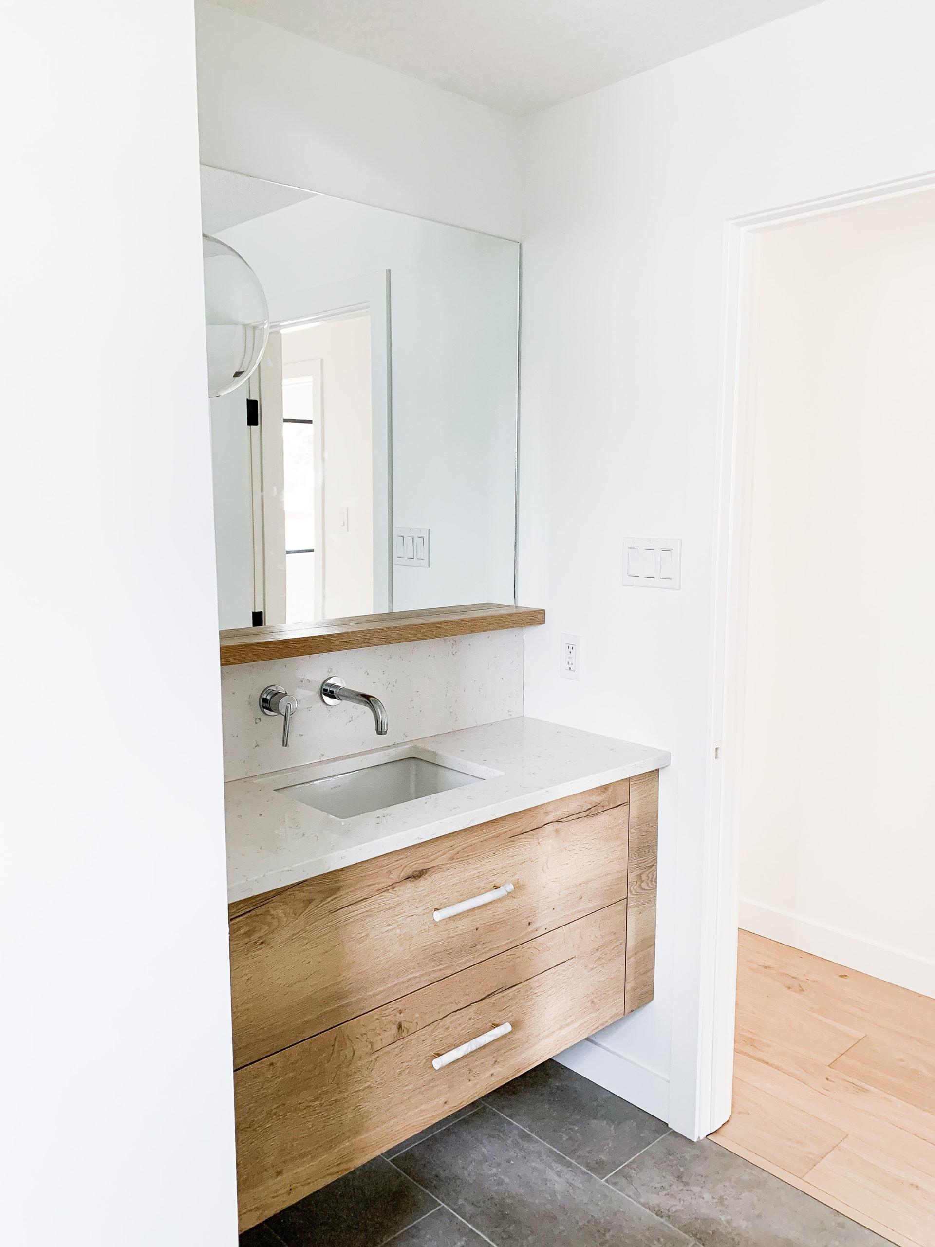 Full Home Renovation - Earthy Coastal Scandinavian California Minimal Powder Room Remodel