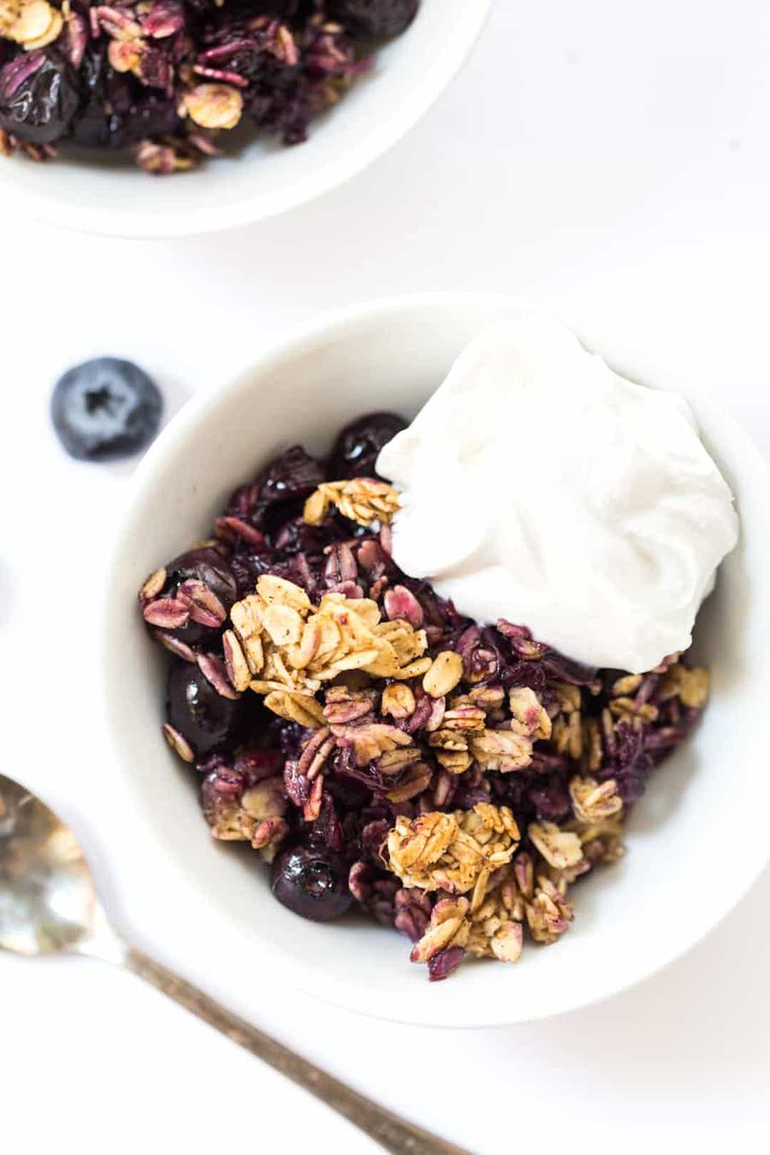 12 Super Easy Plant Based Desserts - Banana Blueberry Crumble