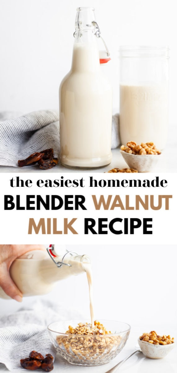 Try this super simple and easy homemade vitamix or blender walnut milk recipe (done two ways; vanilla and chocolate) and learn about the benefits of homemade walnut milk, how to make it as a DIY, and uses for this delicious milk such as in a healthy smoothie, with granola, or in savoury recipes!