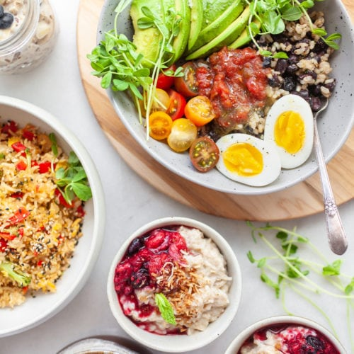 an array of different dishes using leftover rice