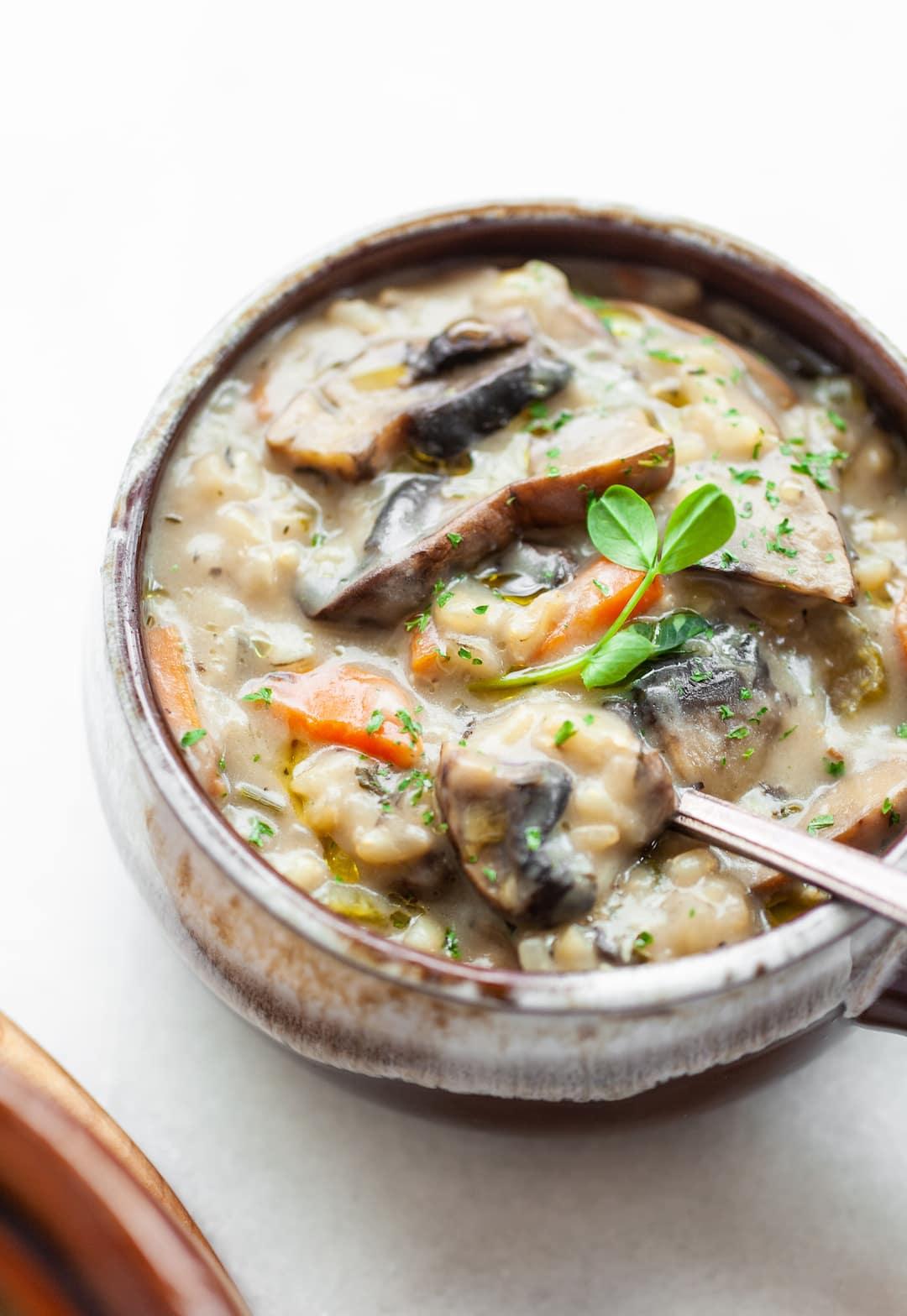 Dairy Free Creamy Mushroom and Rice Soup