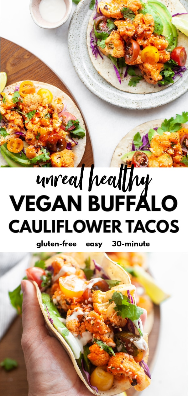 One of the best plant based taco recipes, these crispy roasted vegan buffalo cauliflower tacos are easy, healthy, perfectly spicy (but not too spicy) and loaded with veggie goodness, not to mention gluten free and dairy free too!