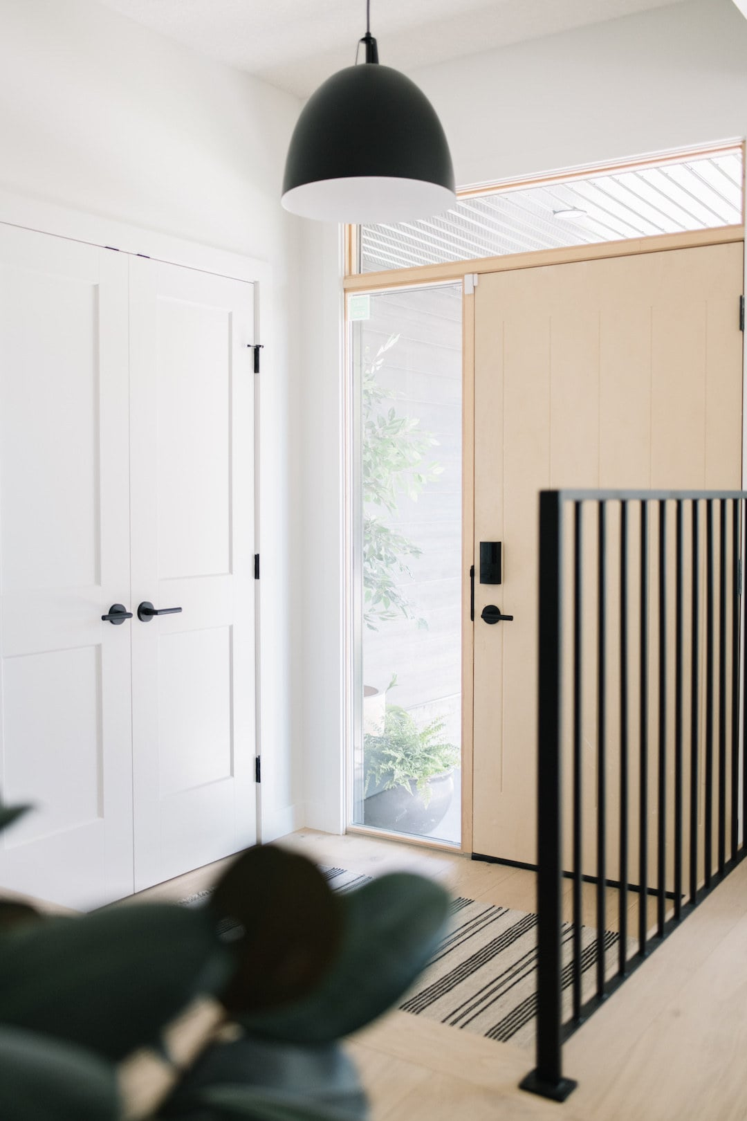 modern wood door entry with black iron railing