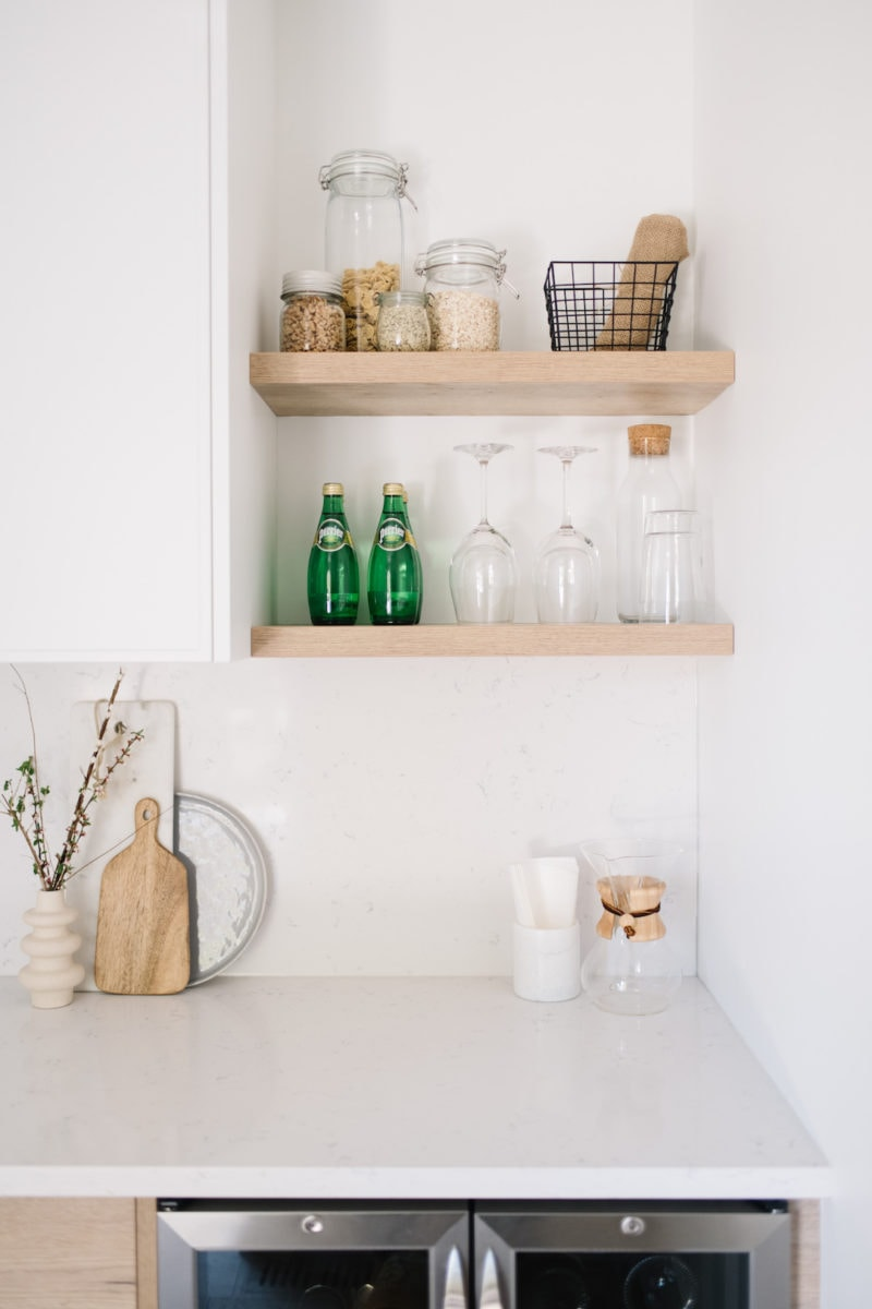 shelving with glasses in butlers pantry