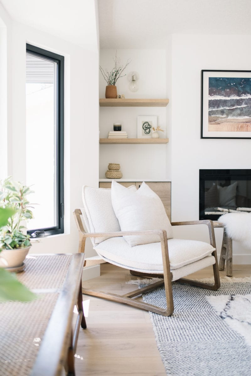 white modern living room with Scandinavian neutral decor