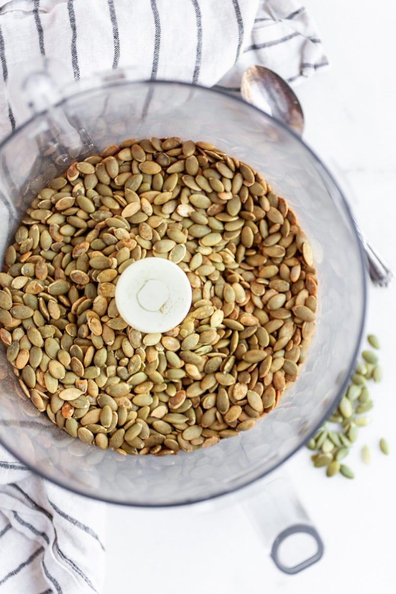 pumpkin seeds in a food processor