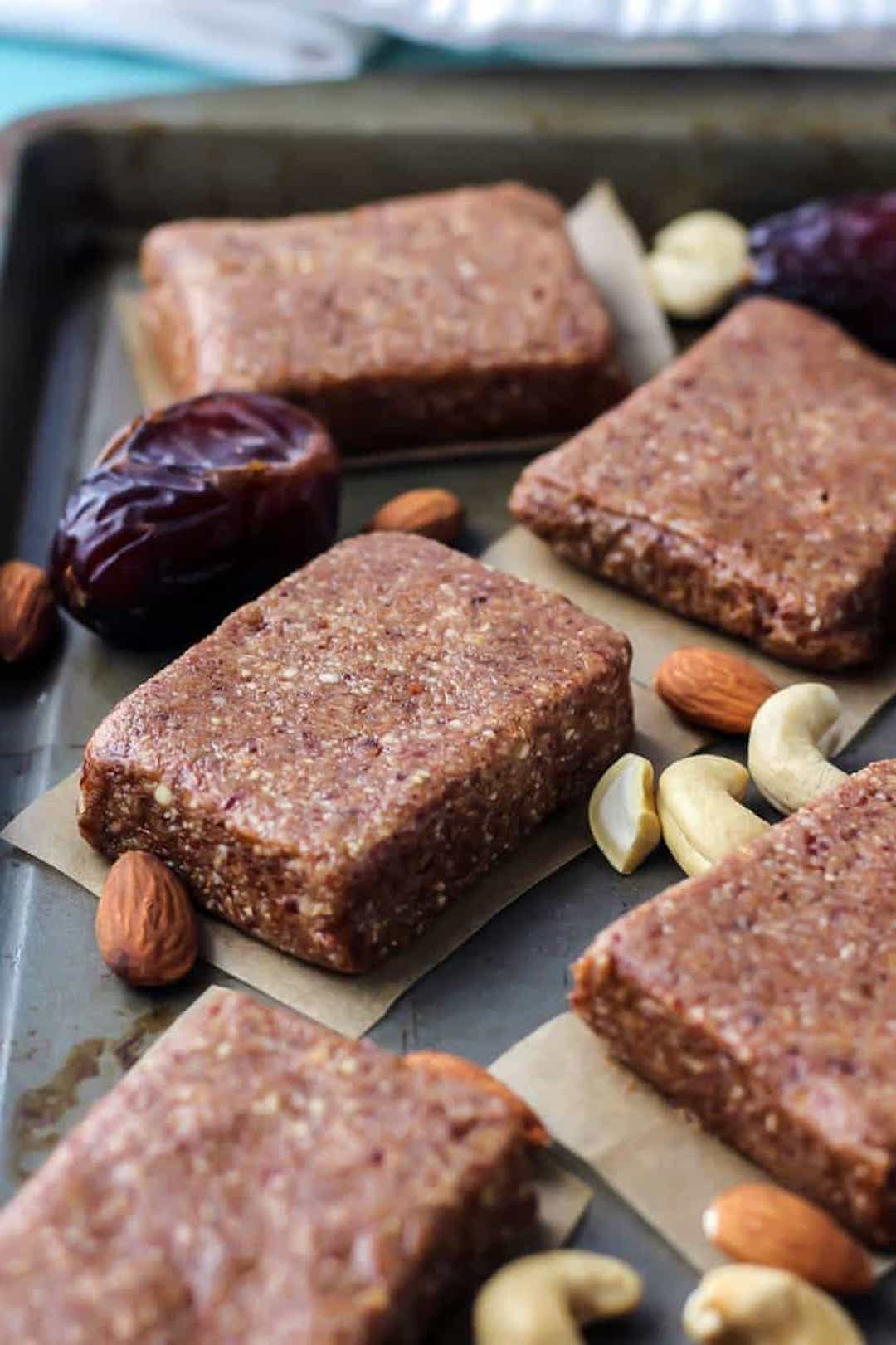 paleo protein bars on a tray