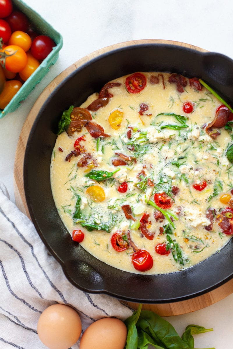 Making a dairy free frittata in a skillet