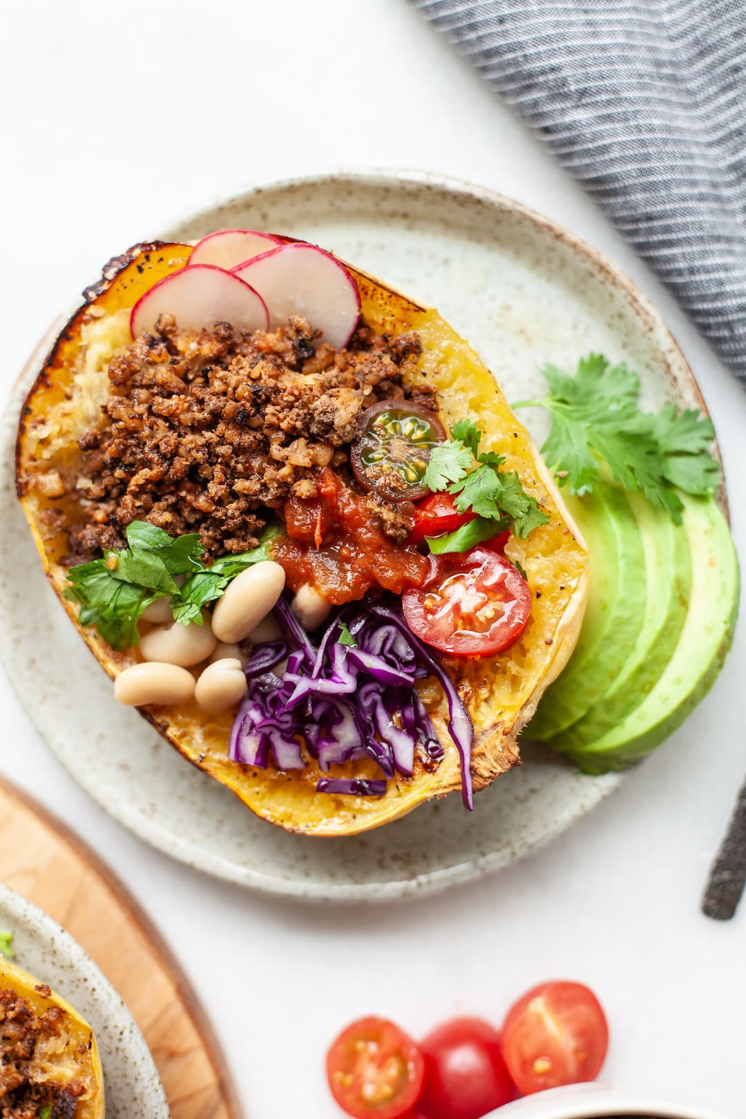 spaghetti squash burrito bowls with walnut taco meat vegetables and white beans