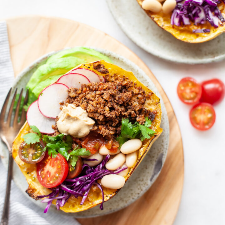 spaghetti squash burrito bowls with walnut taco meat