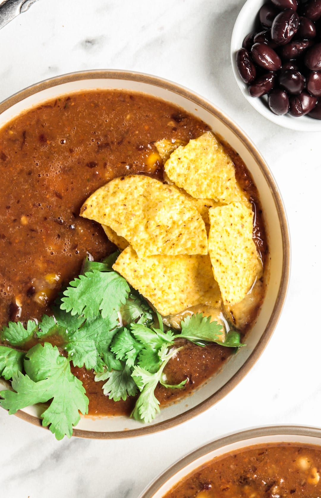 Easy Blender Vitamix Tortilla Soup with tortilla corn chips and cilantro