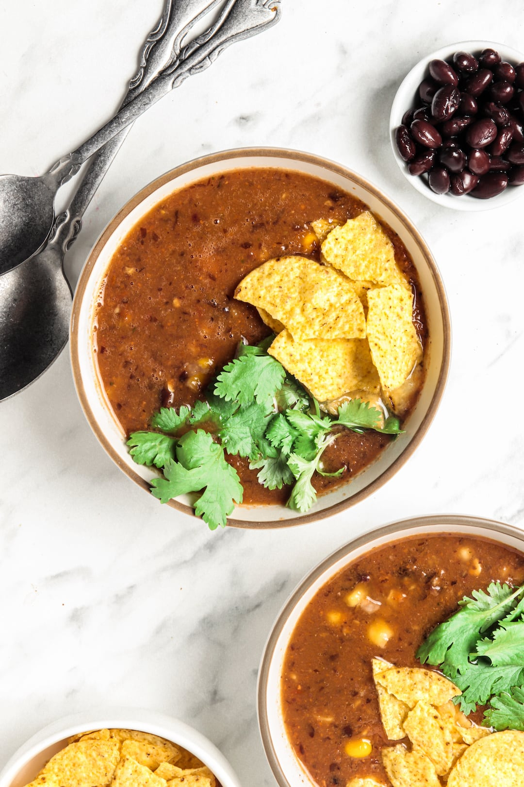 Two bowls of Easy Blender Vitamix Tortilla Soup topped with tortilla chips and cilantro
