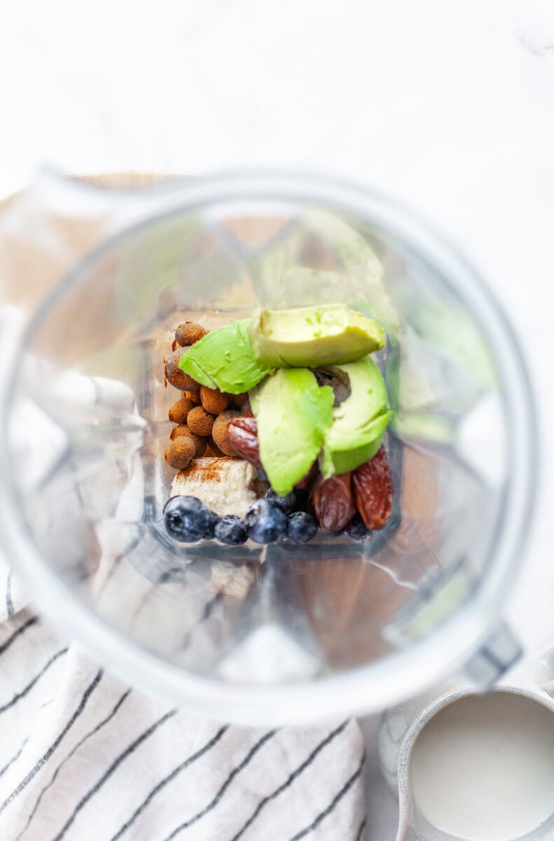 Ingredients for Creamy Blueberry Avocado Smoothie in the Vitamix Blender