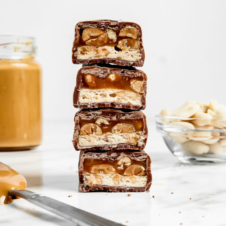 Stack of Must-Make Healthy 'Snickers' Protein Bars
