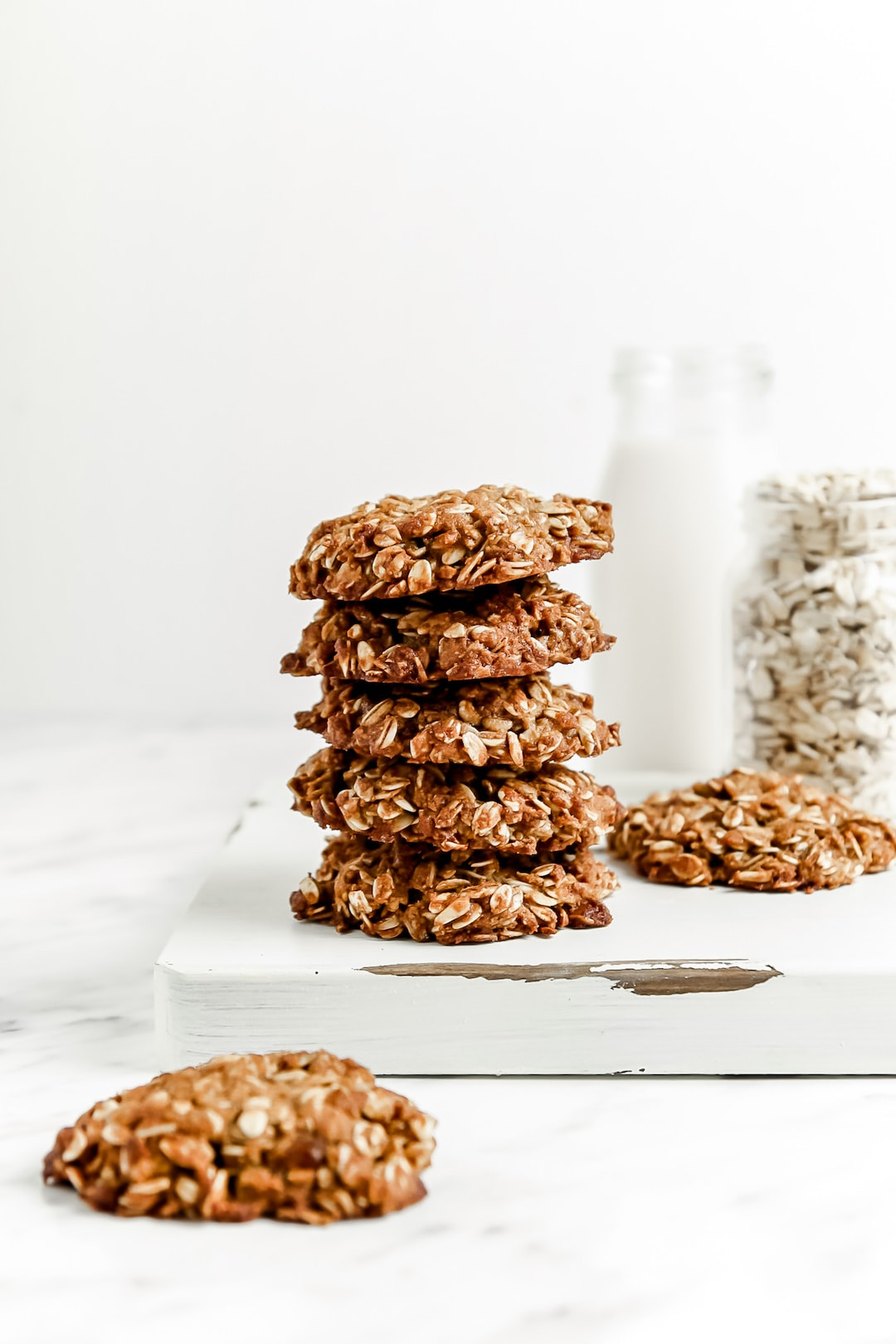 Stack of Soft Healthy Almond Flour Oatmeal Cookies