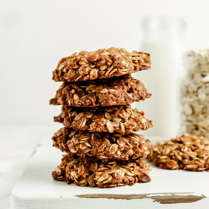 Five stacked Soft Healthy Almond Flour Oatmeal Cookies