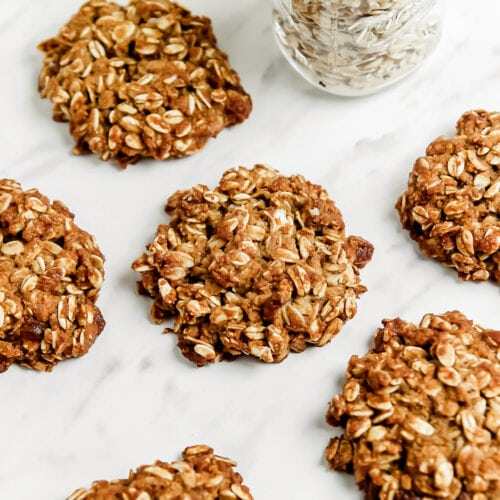 Soft Healthy Almond Flour Oatmeal Cookies on a marble tray