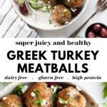 Easy & Healthy Greek Turkey Meatballs pin