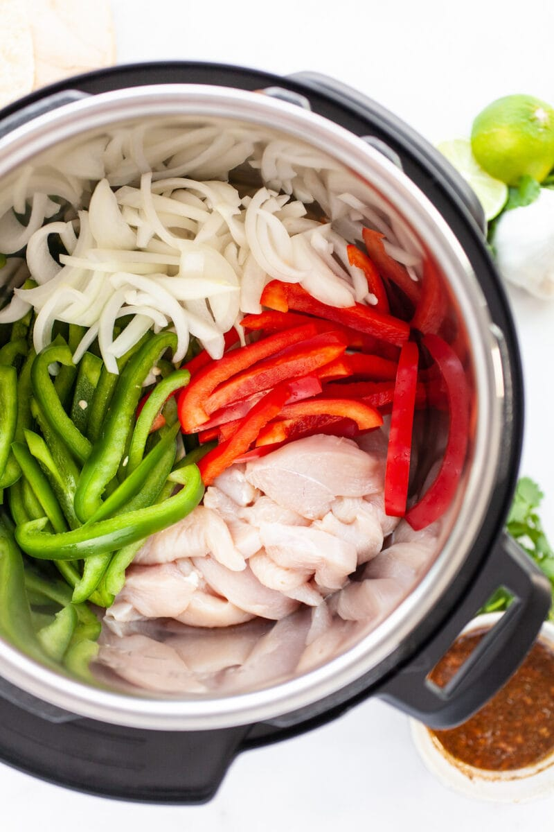 Instant Pot Chicken Fajitas Ingredients in the Instant pot